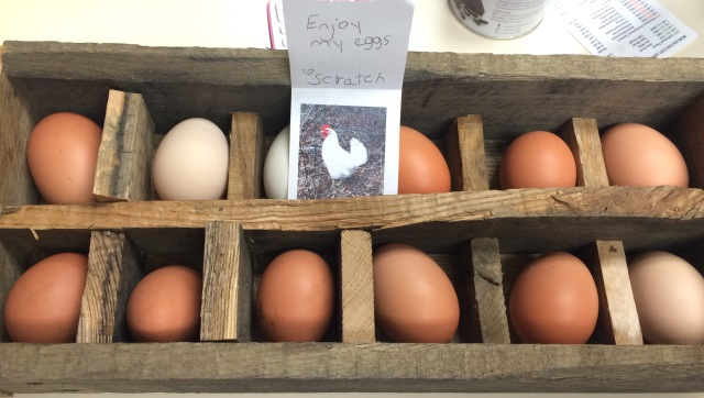 room temperature farm fresh eggs wooden crate