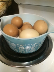 room temperature Farm fresh eggs in vintage pyrex